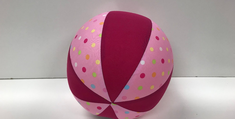Balloon Ball Medium - Coloured Confetti Dots with Hot Pink Panels