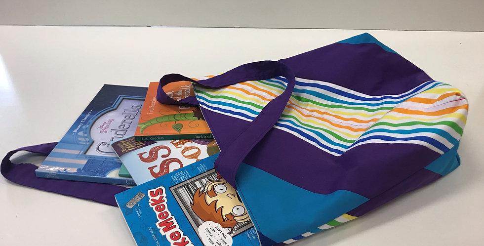 Library Reader Tote Bag - Rainbow Stripes Purple Aqua