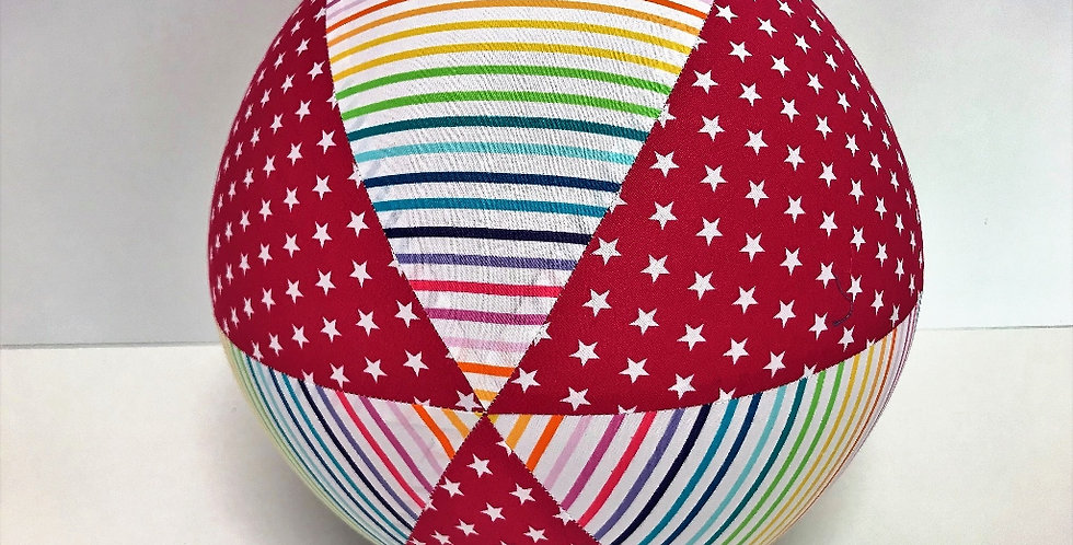 Balloon Ball - Pink White Stars Rainbow Stripes on White