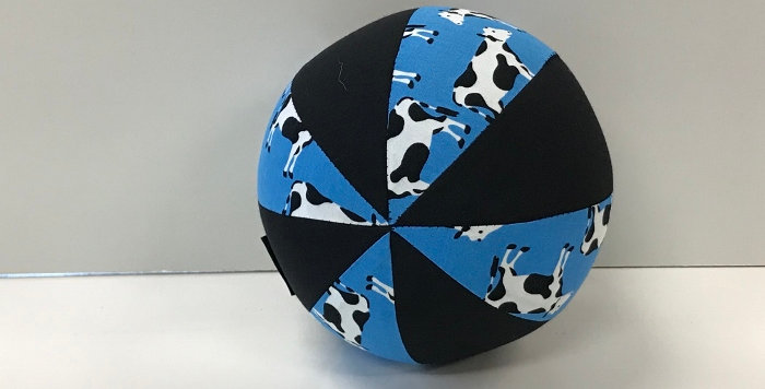 Balloon Ball Small - Cows on Blue with Black Panels