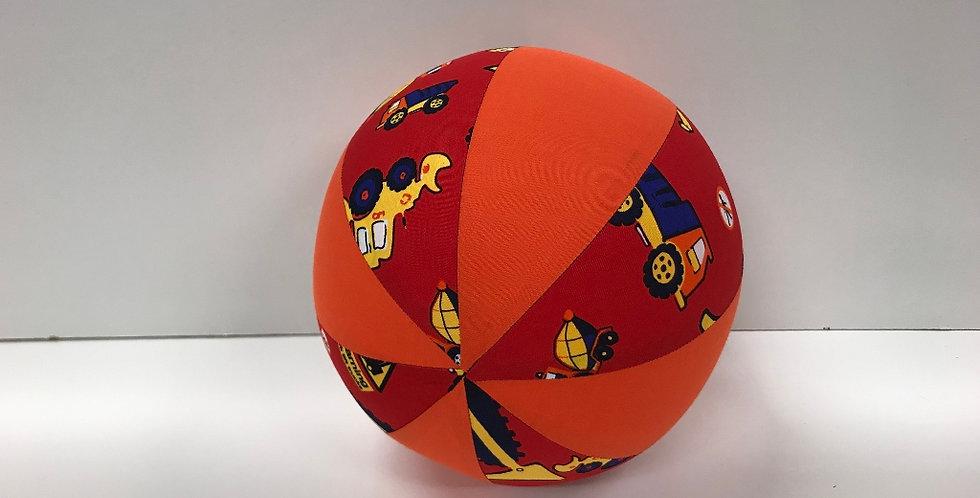 Balloon Ball Medium - Trucks on Red with Orange Panels