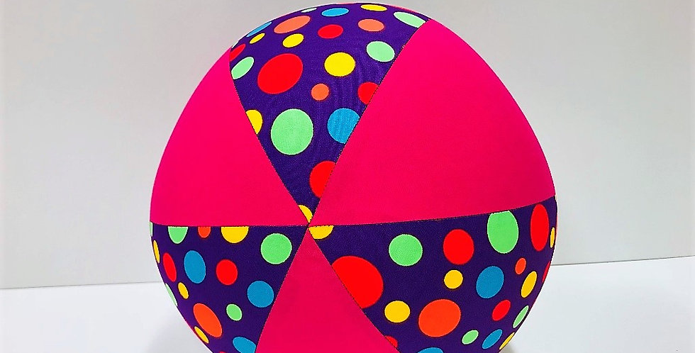 Balloon Ball - Purple Multi Coloured Dots with Hot Pink Panels