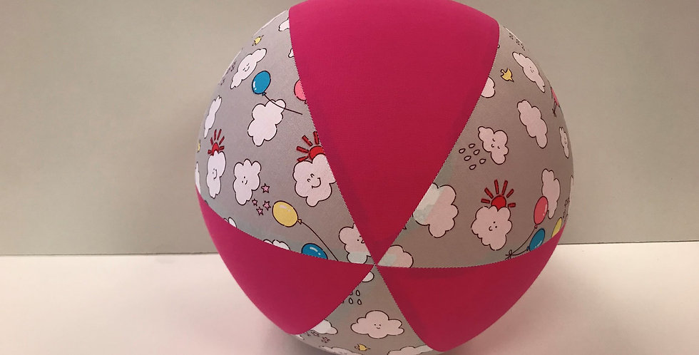 Balloon Ball - Grey Balloons and Clouds with Hot Pink Panels