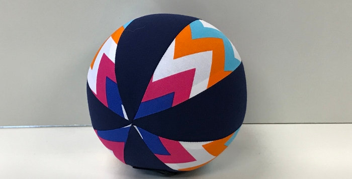 Balloon Ball Small - Coloured Chevrons with Navy Blue Panels