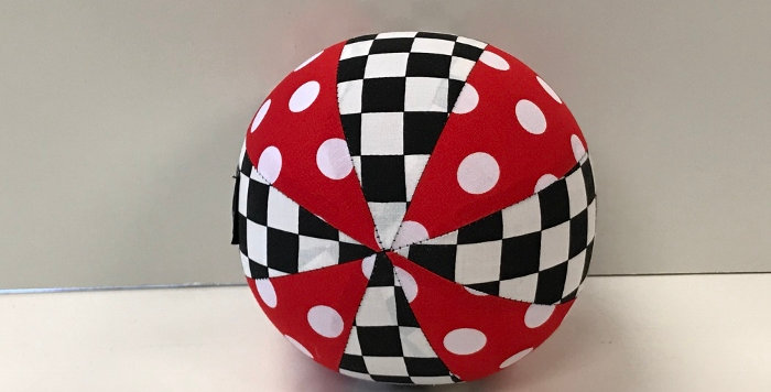 Balloon Ball Small - Red White Dots - Black White Check