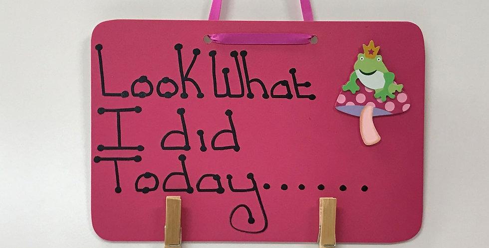 Frog on Mushroom - Pink Board - Pink Ribbon