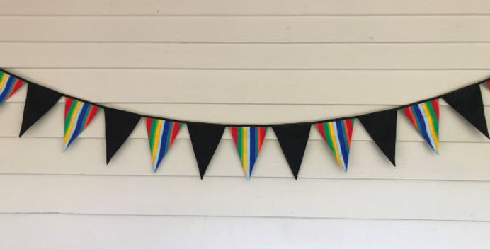 Bunting - Black with Solid Rainbow Lines