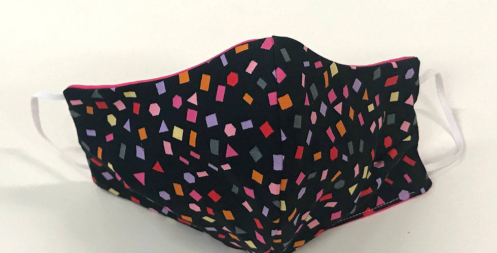 Face Mask - 4 Layers - Black Coloured Confetti- Hot Pink