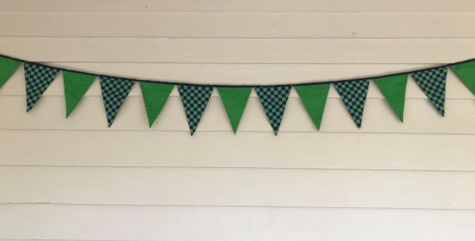Bunting - Apple Green - Green Blue Checked Print