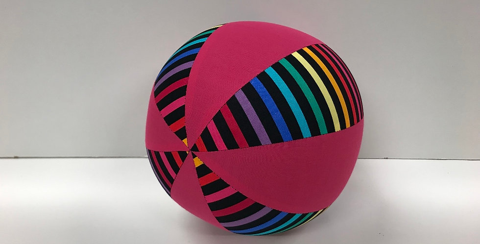Balloon Ball Medium - Rainbows on Black with Hot Pink Panels