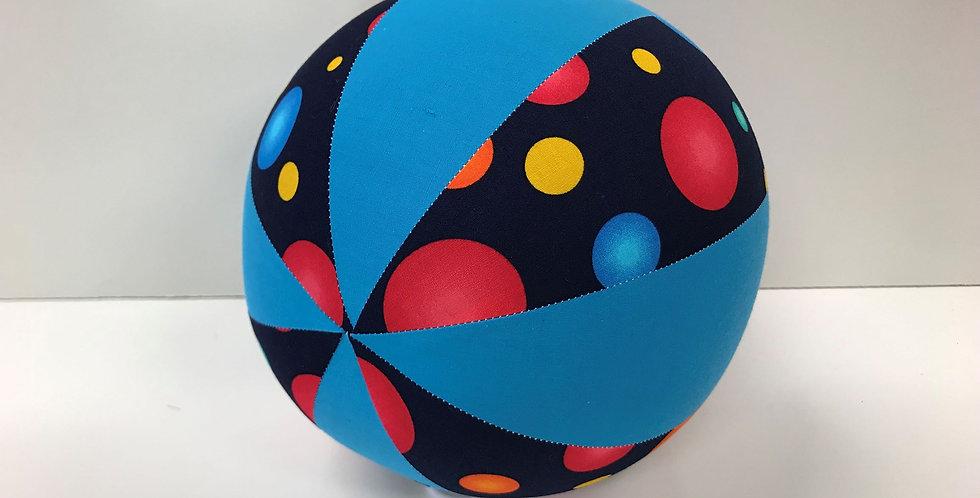 Balloon Ball Medium - Coloured Dots on Navy with Aqua Panels