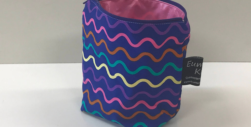 Reusable Food Safe Lunch / Snack Bags - Purple Coloured Lines - Pink Lining