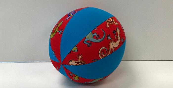 Balloon Ball Small - Geckos on Red with Aqua Panels