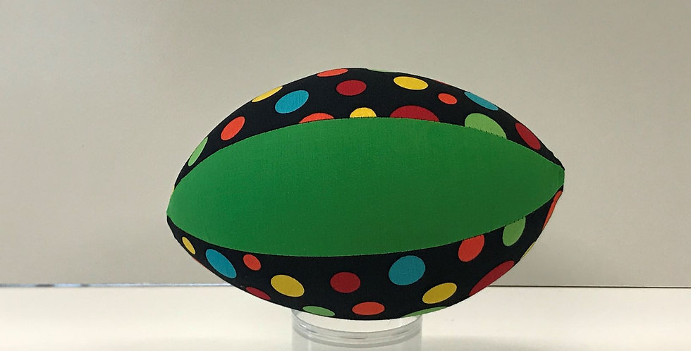 Balloon Football Small - Multi Coloured Dots on Black with Apple Green Panels
