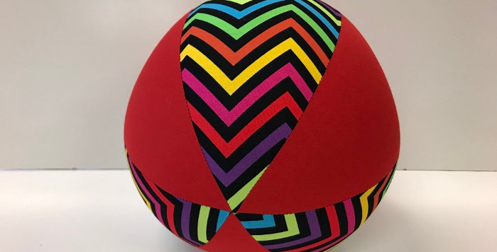 Balloon Ball - Coloured Chevrons with Red Panels