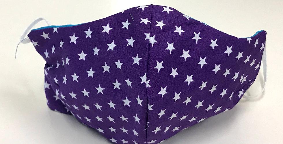Face Mask - 4 Layers - Purple White Stars - Aqua