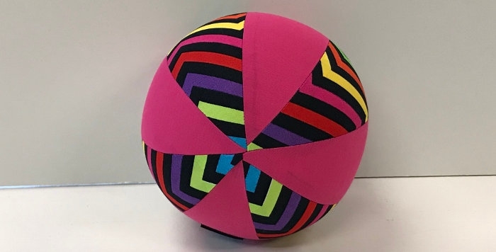 Balloon Ball Small - Coloured Chevrons on Black with Hot Pink Panels