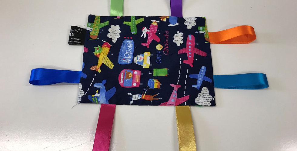 Taggie Cloth - Aeroplanes Taxi Buses on Navy