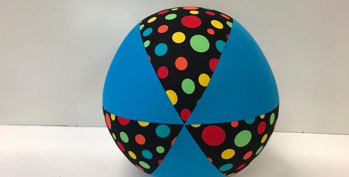 Balloon Ball - Black Multi Coloured Dots with Aqua Panels