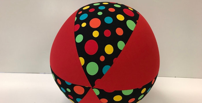 Balloon Ball - Black Multi Coloured Dots with Red Panels
