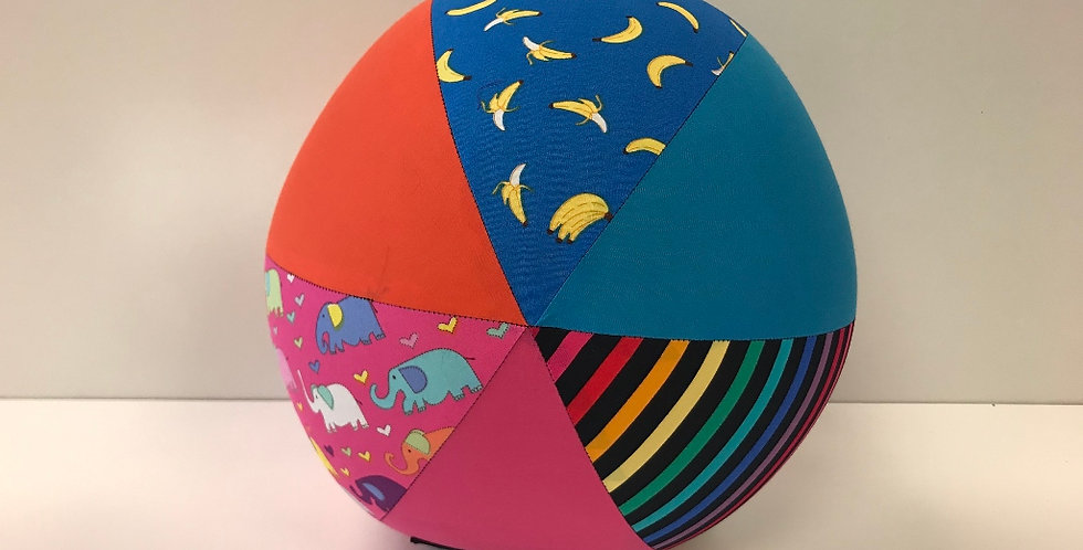 Balloon Ball Large - Bananas Rainbow Elephants with Orange Aqua Pink Panels