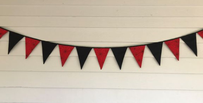 Bunting - Black with Red Spider Web Panels