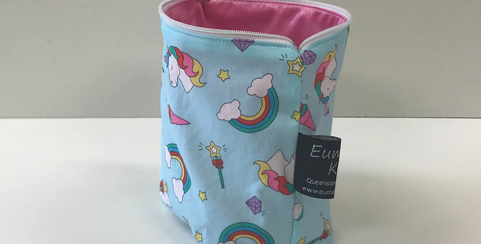 Reusable Food Safe Lunch / Snack Bags - Unicorns Light Blue - Pink Lining