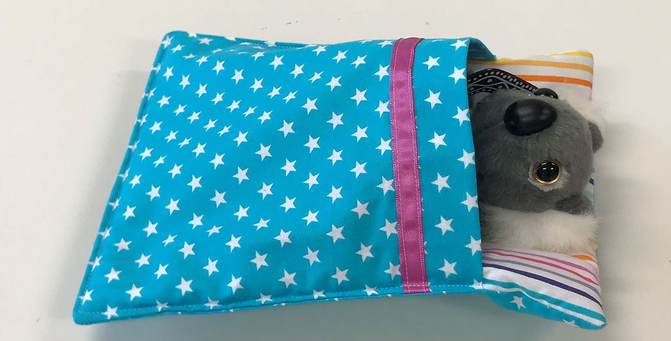 Aussie Swag Sleeping Bag - Aqua White Stars with Rainbow Stripe Sheet