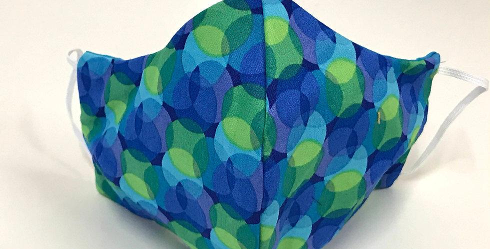 Face Mask - 4 Layers - Blue Green Circles - Aqua