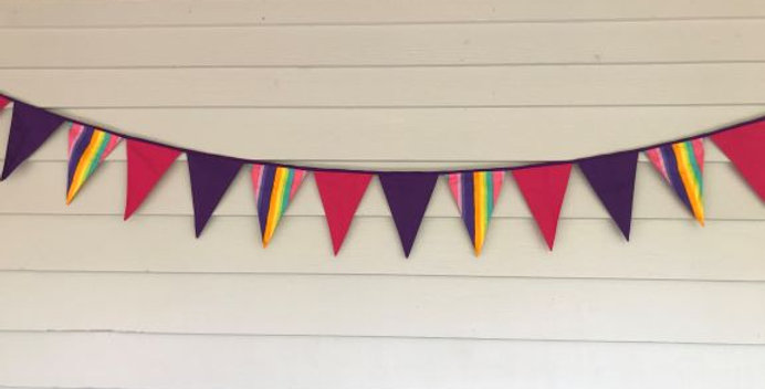 Bunting - Pink Purple Panels - Rainbow Stripes