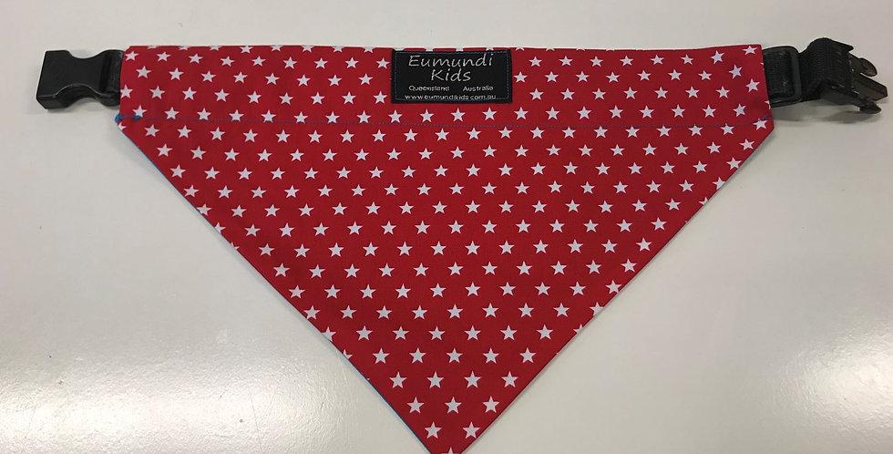 Dog Bandana Large - Red with White Stars with Aqua Backing