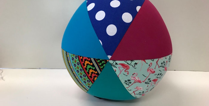 Balloon Ball Large - Dots Flamingos Aztec with Teal Pink Aqua Panels