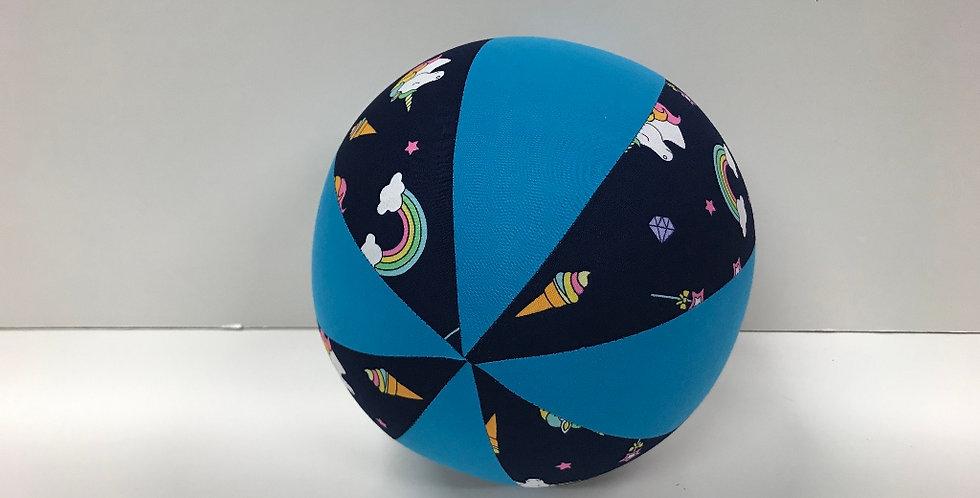Balloon Ball Medium - Unicorns on Navy with Aqua Panels