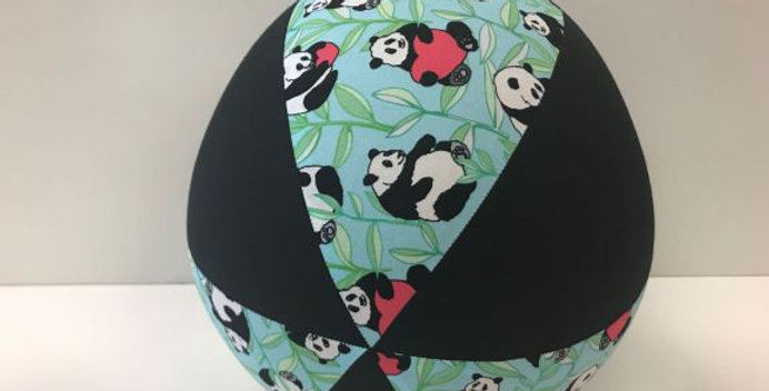 Balloon Ball - Panda Bears on Light Blue with Black Panels