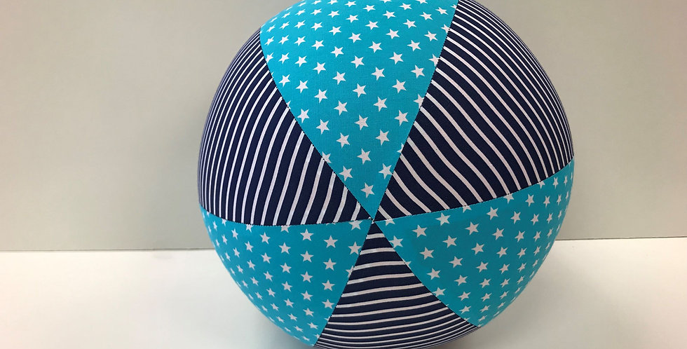 Balloon Ball - Aqua White Stars with Navy White Stripes
