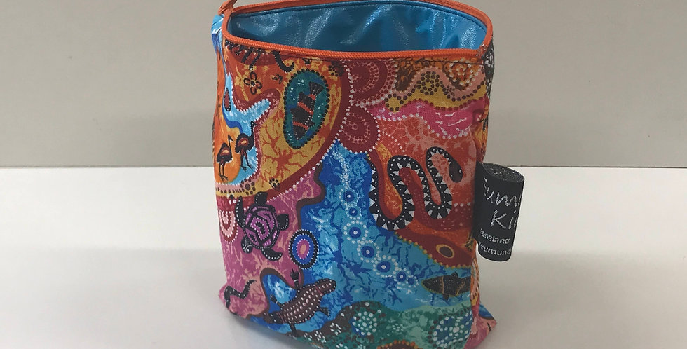 Reusable Food Safe Lunch / Snack Bags - Australiana - Aqua Lining