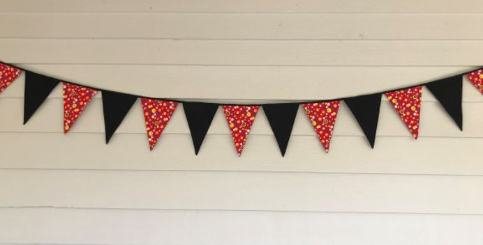 Bunting - Black with Red Multi Coloured Dots