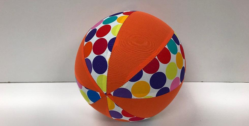 Balloon Ball Medium - Multi Coloured Dots on White with Orange Panels