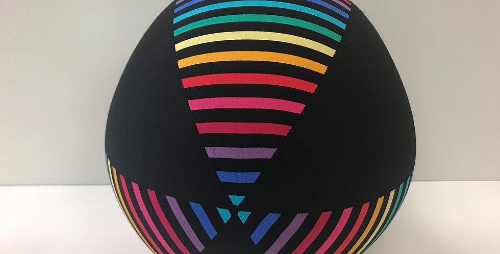 Balloon Ball Large - Black Rainbow Stripes Black Panels