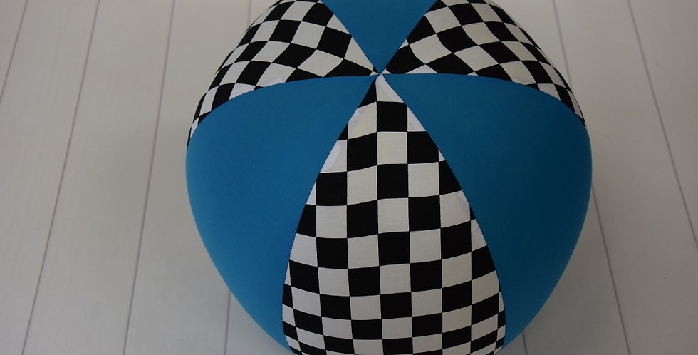 Beach Ball - Black White Check with Aqua Panels