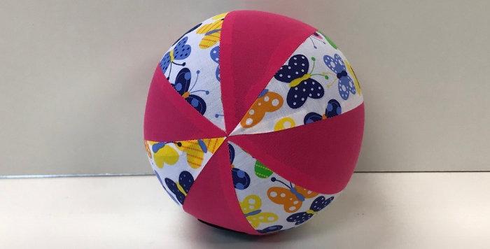 Balloon Ball Medium - White Coloured Butterflies with Hot Pink Panels
