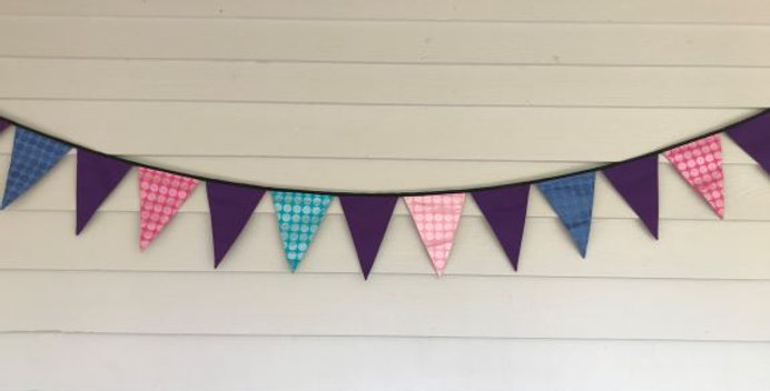Bunting - Purple Panels Shimmer Dots Pink Blue Purple