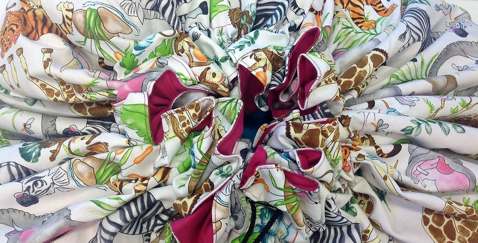 Toy Sack Jumbo - White with Jungle Animals with Pink Lining