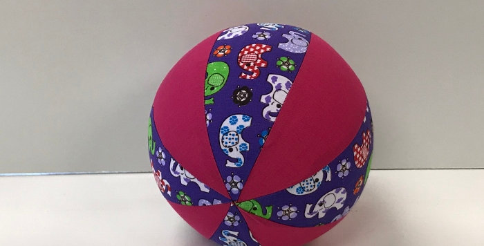 Balloon Ball Small - Elephants on Purple with Hot Pink Panels