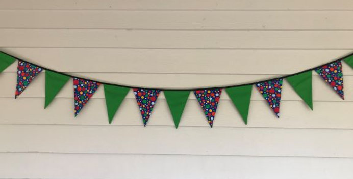 Bunting - Apple Green - Blue with Multi Coloured Dots
