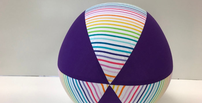 Balloon Ball - White Rainbow Stripes with Purple Panels