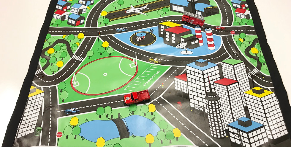 Car Play Mat - Black with 2 cars