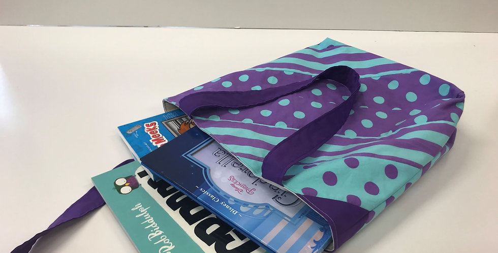 Library Reader Tote Bag - Purple Dots Aqua Stripes