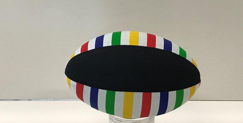 Balloon Football Small - Rainbow Stripes on White with Black Panels