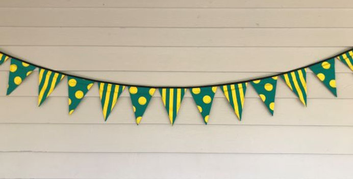 Bunting - Green with Yellow Dots and Stripes